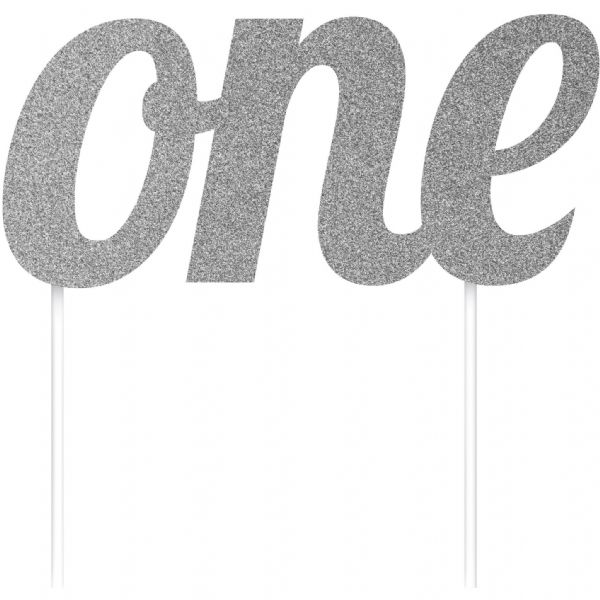 Silver Glittered 'One' Cake Topper